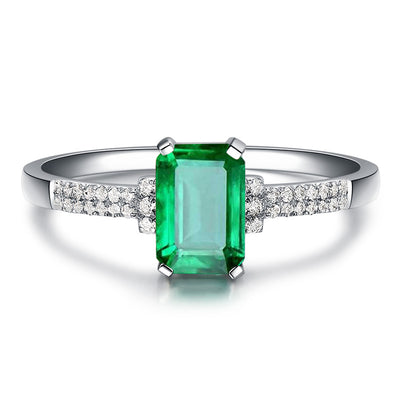 Wiley Hart Handmade Emerald Green Sapphire Engagement Ring in White Gold or Silver