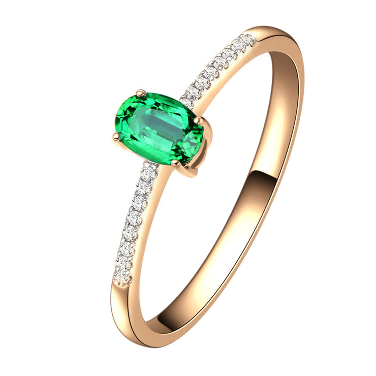 Wiley Hart Classic Oval Green Sapphire Women's Wedding Ring Anniversary Ring in White Gold or Silver