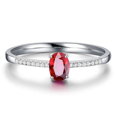 Wiley Hart Office Lady Red Sapphire Women's Ring in White Gold or Silver