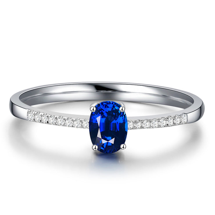 Wiley Hart Flattering Blue Sapphire Women's Engagement Ring White Gold or Sterling Silver