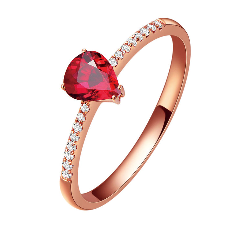 Wiley Hart Solitaire Ring Pear Shape Red Sapphire Women's Ring Band Anniversary Ring in Gold or Silver