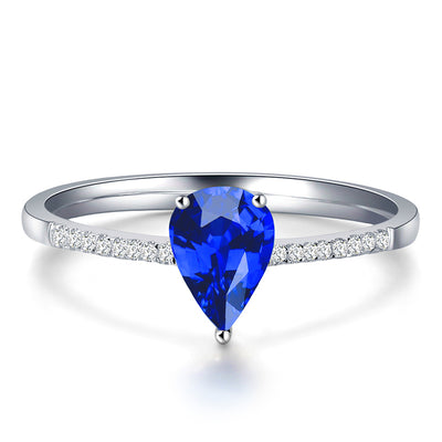 Wiley Hart Flattering Pear Cut Blue Sapphire Engagement Ring White Gold or Sterling Silver