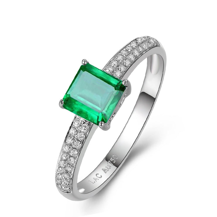 Wiley Hart Forever Emerald Green Sapphire Engagement Ring in White Gold or Silver