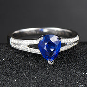 Wiley Hart Flattering Double Shank Pear Cut Blue Sapphire Engagement Ring White Gold or Sterling Silver
