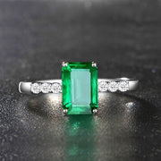 Wiley Hart Simple Glamour Emerald Green Sapphire Engagement Ring in White Gold or Silver