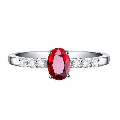 Wiley Hart Lovely Oval Red Sapphire Women's Ring Band in White Gold or Silver
