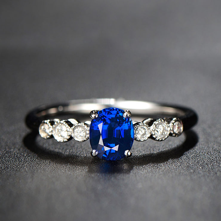 Forever One Blue Sapphire Engagement Ring White Gold or Sterling Silver Wiley Hart