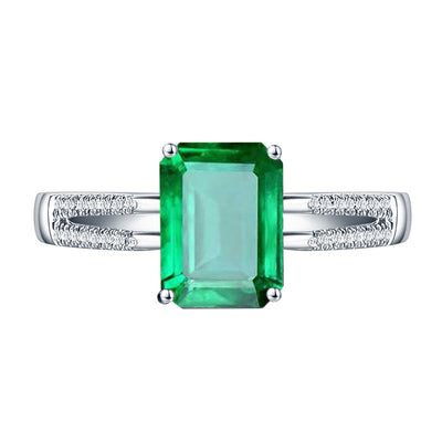 Wiley Hart Split Shank Emerald Green Sapphire Engagement Ring in White Gold or Silver