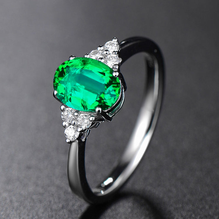 Wiley Hart Simple Elegance Green Sapphire Oval Engagement Ring in White Gold or Silver