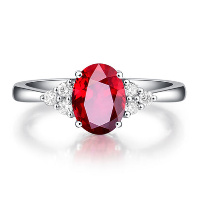 Wiley Hart Handmade Oval Red Sapphire Engagement Ring in White Gold or Silver