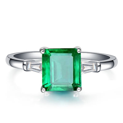 Wiley Hart There Stone Emerald Green Sapphire Engagement Ring in White Gold or Silver