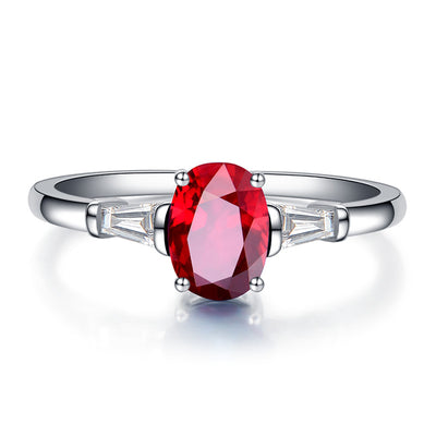 Wiley Hart Three Stone Red Sapphire Women's Ring in White Gold or Silver