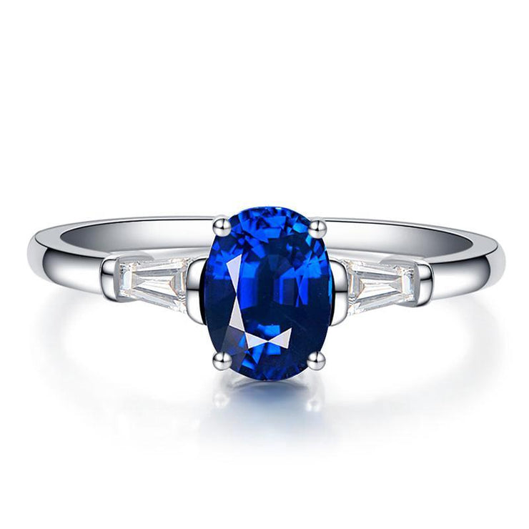 Simple Elegance Blue Sapphire Women's Ring White Gold or Sterling Silver Wiley Hart