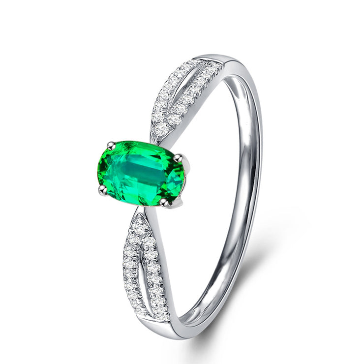 Wiley Hart Oval Green Sapphire Engagement Ring Split Shank in White Gold or Silver