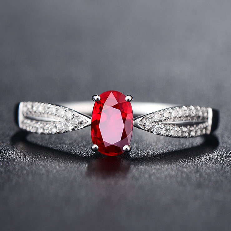 Wiley Hart Red Sapphire Engagement Ring Split Shank Wedding Anniversary Ring in White Gold or Silver