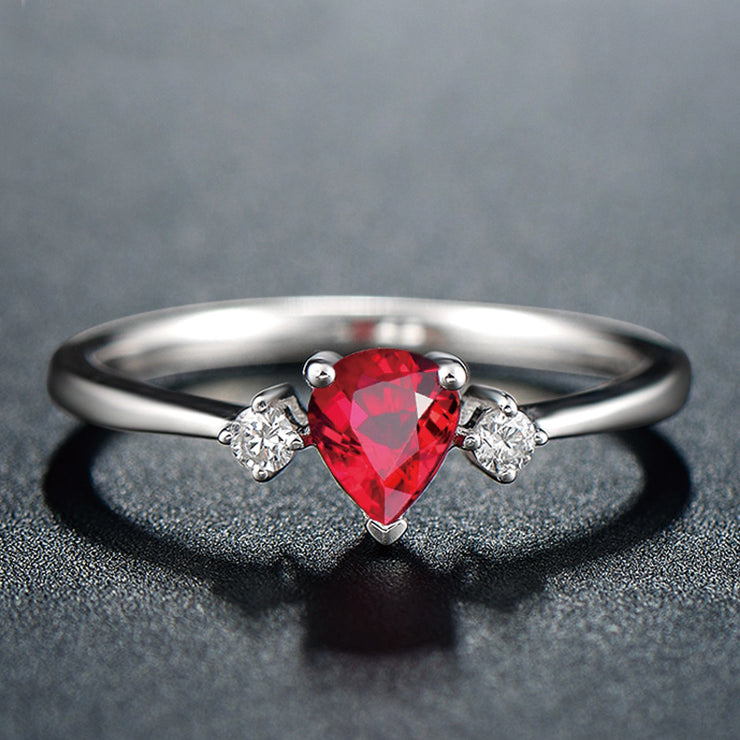Wiley Hart Pretty Pear Shape Red Sapphire Women's Ring Anniversary Ring in White Gold or Silver
