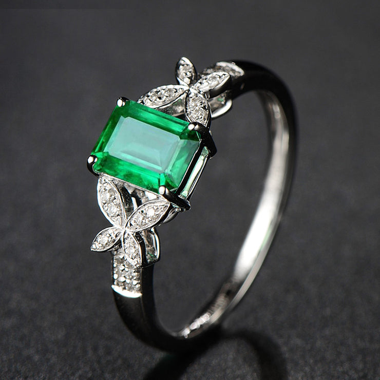 Wiley Hart Feminine Emerald Green Sapphire Engagement Ring in White Gold or Silver