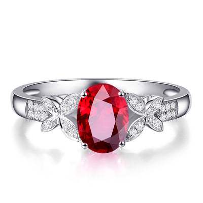 Wiley Hart Floral Feminine Red Sapphire Engagement Ring in White Gold or Silver