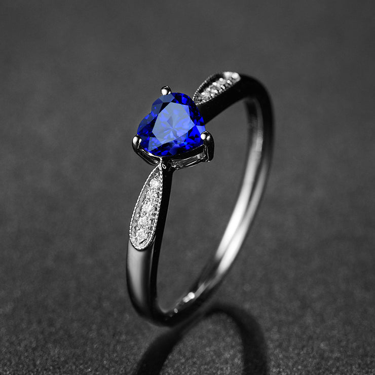 Wiley Hart Blue Sapphire Heart Shape Romantic Engagement Ring Gold or Silver