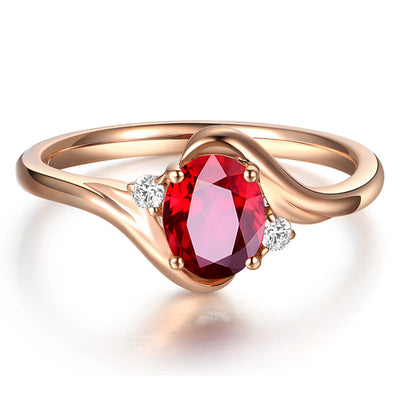 Wiley Hart Rose Gold Red Sapphire Engagement Ring Women's Ring in White Gold or Silver
