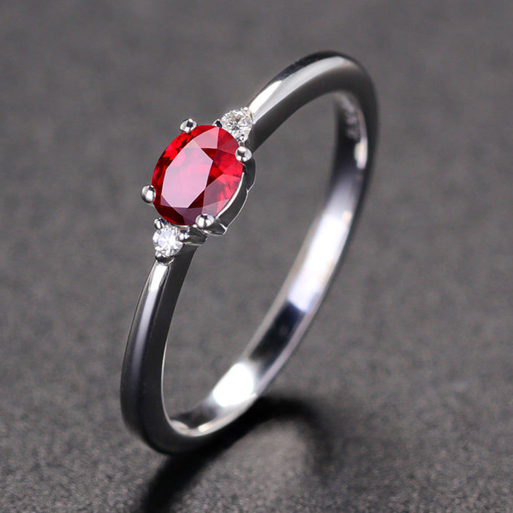 Wiley Hart Women's Stackable Ring Red Sapphire Oval Cut in White Gold or Silver