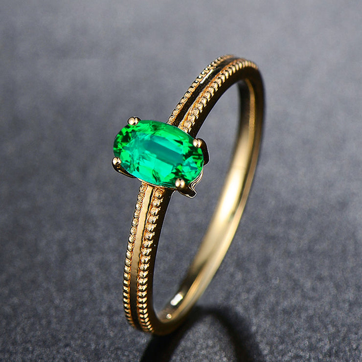 Wiley Hart Oval Cut Green Sapphire Women's Stylish Ring in White Gold or Silver