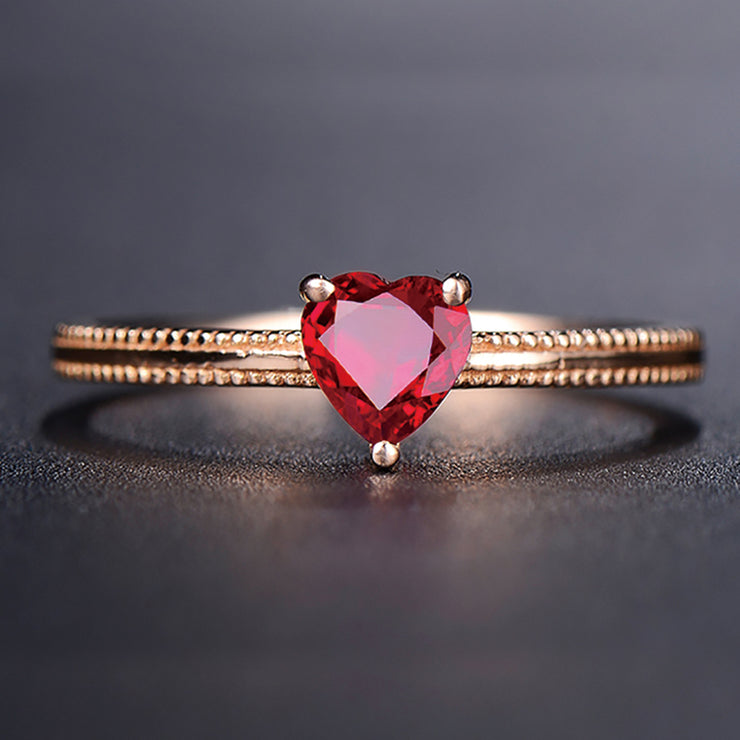 Wiley Hart Heart Shape Red Sapphire Women's Ring in 14K Gold or Sterling Silver