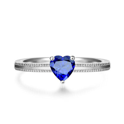 Simple Heart Blue Sapphire Ring Band White Gold or Sterling Silver Wiley Hart