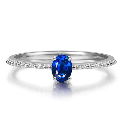 Delicate Blue Sapphire Women's Ring White Gold or Sterling Silver Wiley Hart