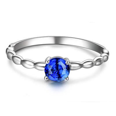 Wiley Hart Round Blue Sapphire Ring Band White Gold or Sterling Silver