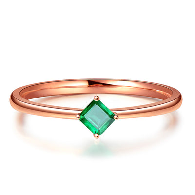 Wiley Hart Dainty Rose Gold Green Sapphire Stackable Ring in White Gold or Silver