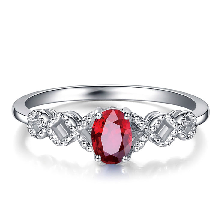 Wiley Hart Twisted Shank Red Sapphire Engagement Ring Women's Oval Ring in White Gold or Silver