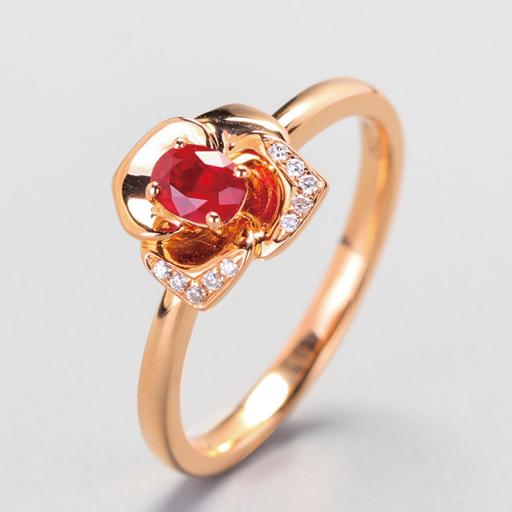 Wiley Hart Rose Gold Lover Red Sapphire Engagement Ring in 14K Gold or Sterling Silver