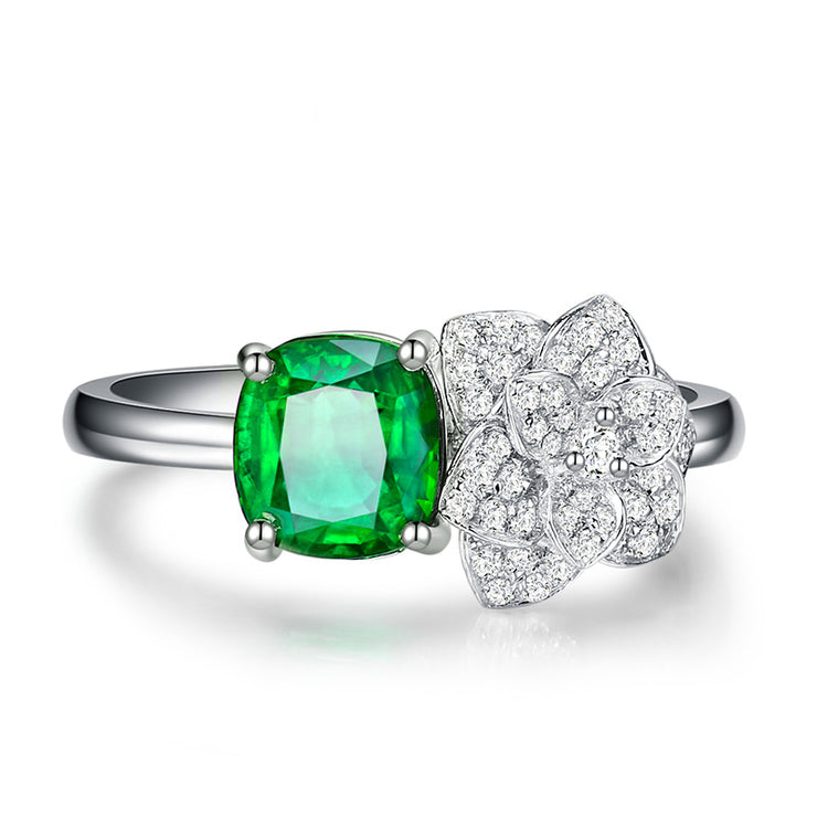 Wiley Hart Emerald Green Sapphire Engagement Ring Rose Flower in White Gold or Silver