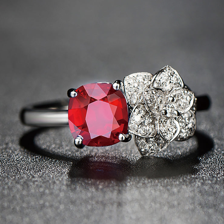 Wiley Hart Red Sapphire Engagement Ring Cocktail Ring Cushion Cut Rose Flower in Gold or Silver