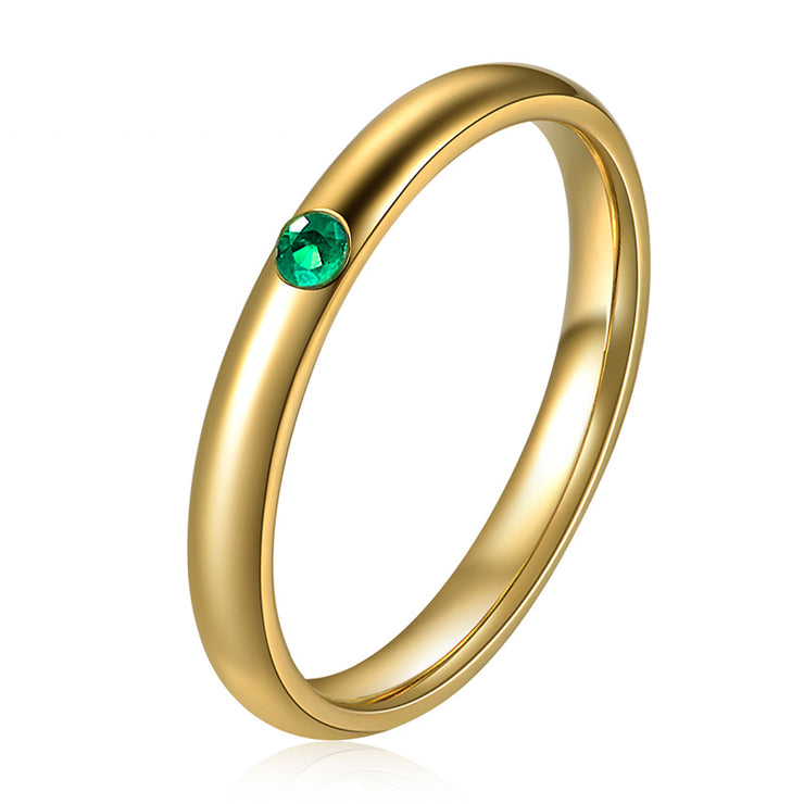 Wiley Hart Unique Ring Band Green Sapphire Wedding Band in White Gold or Silver