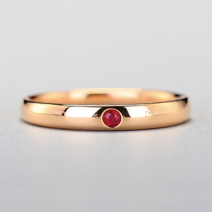 Wiley Hart Women's Ring Band Red Sapphire Wedding Anniversary Ring Band in 14K Gold or Silver