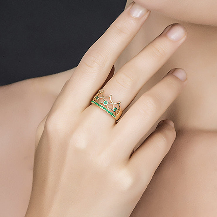 Wiley Hart Vintage Crown Green Sapphire Ring Band in White Gold or Silver