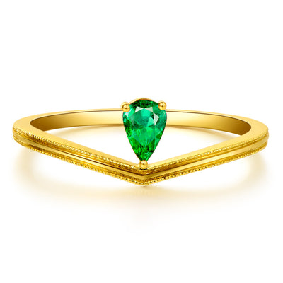 Wiley Hart Unique Green Sapphire Pear Shape Women's Ring in White Gold or Silver