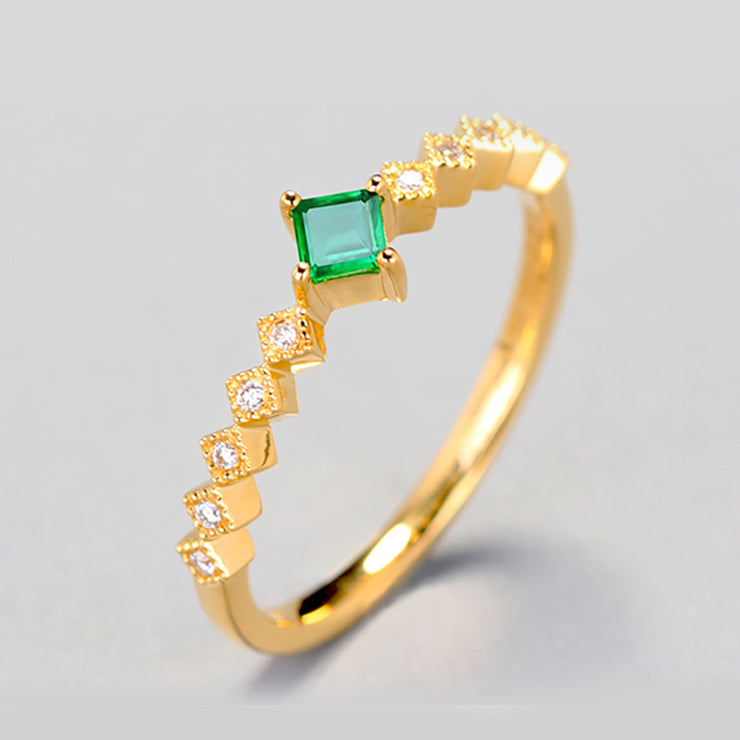 Wiley Hart Emerald Green Sapphire Ring Women's Ring in White Gold or Silver
