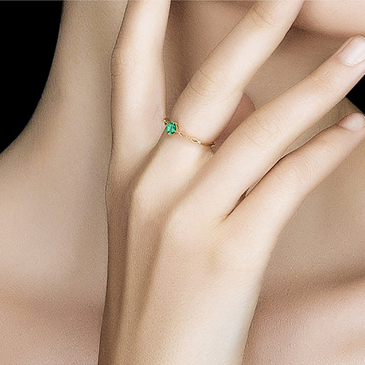 Wiley Hart My Queen Green Sapphire Engagement Ring in White Gold or Silver