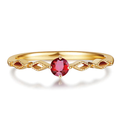 Wiley Hart Red Sapphire Women's Ring Band Anniversary Ring Band Twisted Shank Stackable Ring