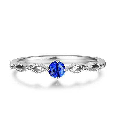 Wiley Hart Round Blue Sapphire Twisted Shank Women's Ring Band White Gold or Sterling Silver