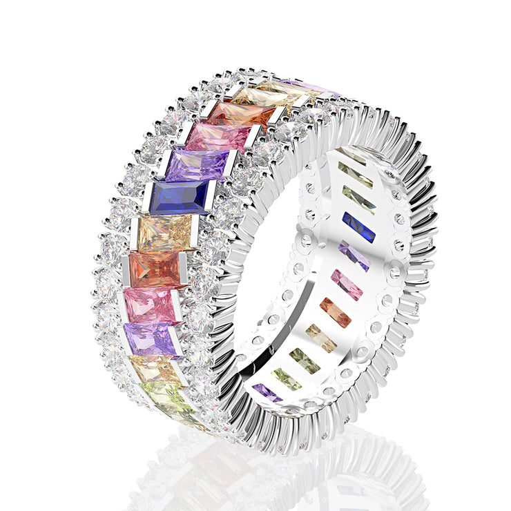 Natural Colorful Emerald Cut Rainbow Sapphire Engagement Ring Band in White Gold or Sterling Silver Wiley Hart