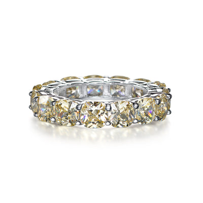 Office Lady Yellow Sapphire Cushion Cut Ring Band in White Gold or Silver Wiley Hart