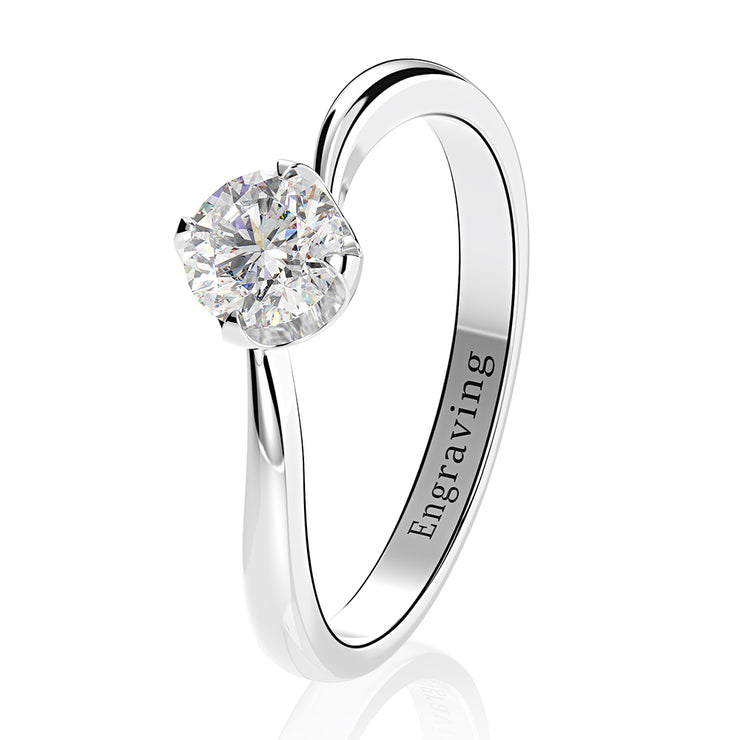 Office Lady White Sapphire Round Brilliant Cut Engagement