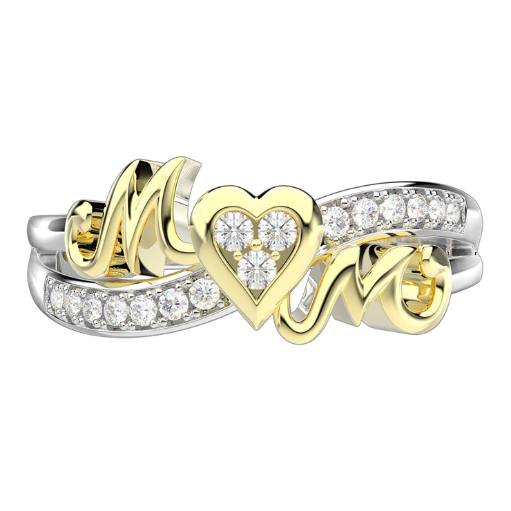 Engraved Heart Promise White Lab Created Sapphire Mothers Ring with Name Infinity Birthstone for Mothers Day White Gold or Silver Wiley Hart