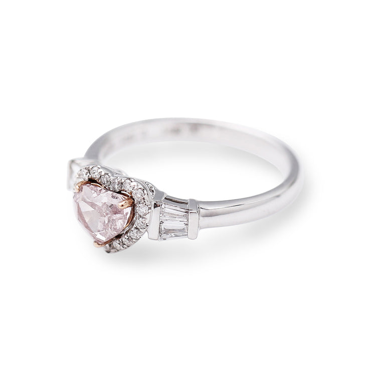 Wiley Hart Romantic Heart Pink Sapphire Wedding Ring Engagement Ring White Gold or Silver