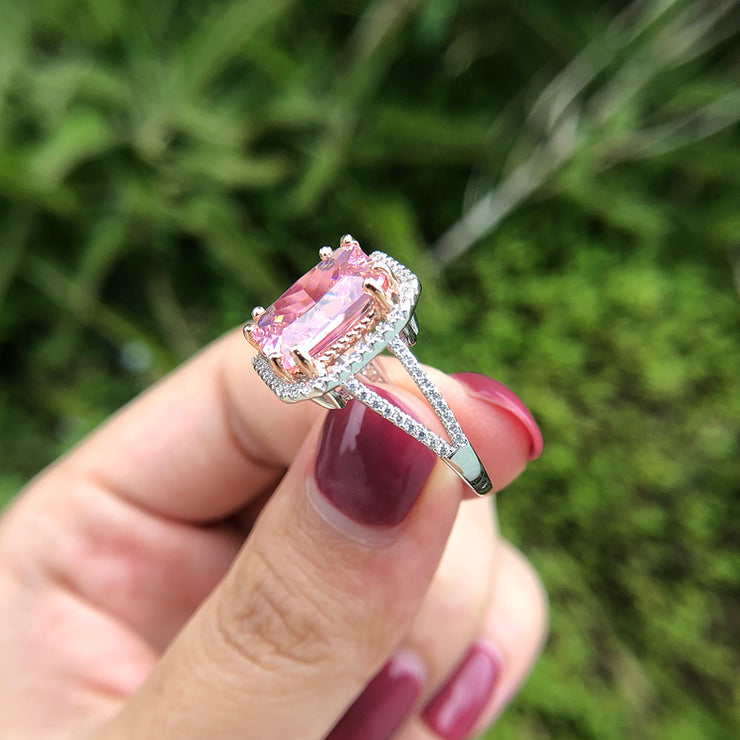 Pink Sapphire Ring Eternity Radiant Cut Wedding Engagement Ring White Gold or Silver Wiley Hart