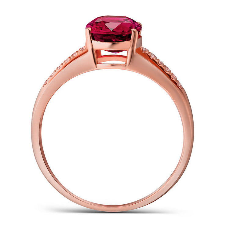 Wiley Hart Women Lovely Rose Gold Red Sapphire Oval Shape Engagement Ring in Gold or Silver